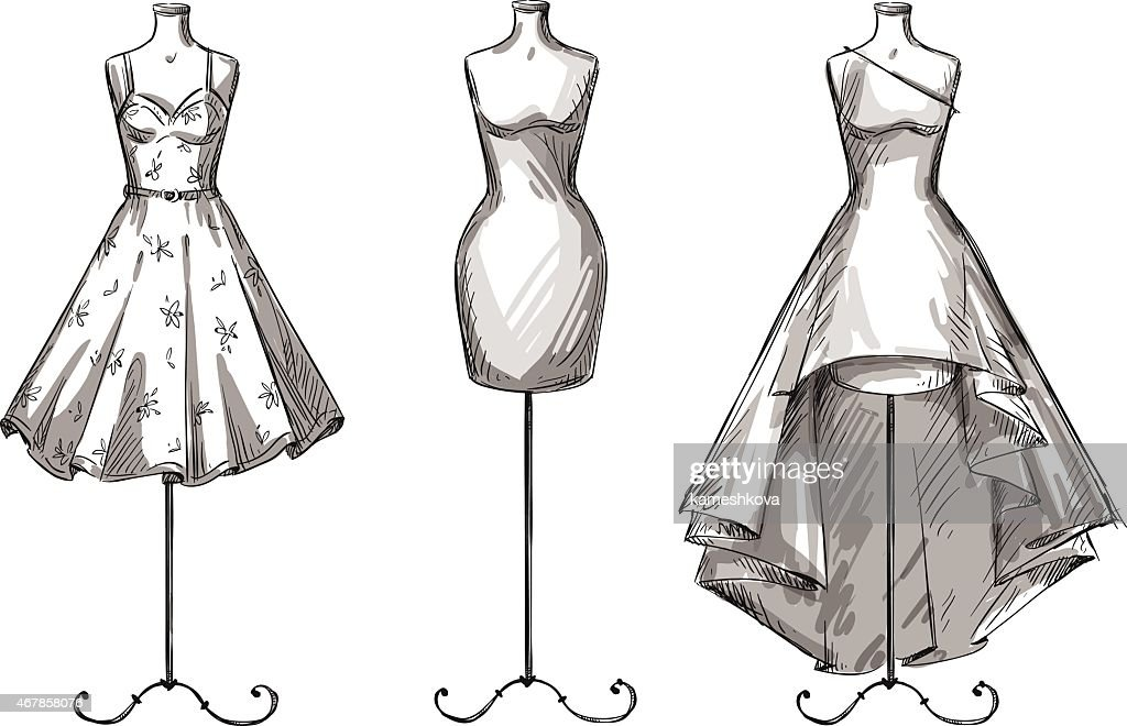 Set of mannequins. Dummies with dresses. Fashion illustration.