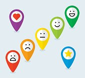 Set of map pointers with emoticons