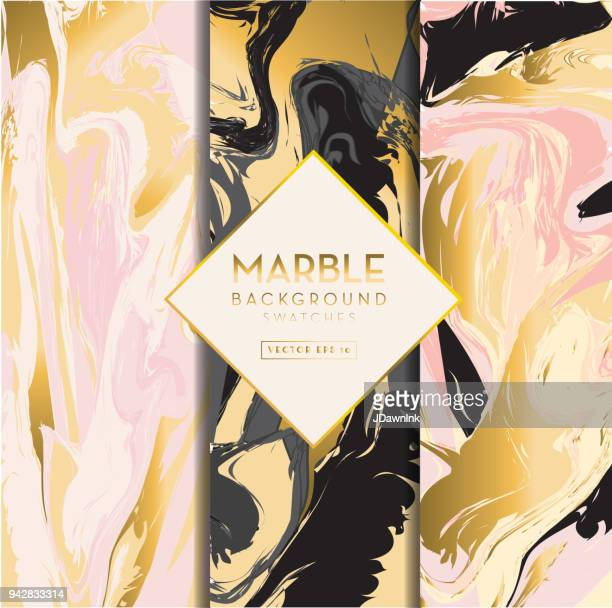 set of marble backgrounds - marbled effect stock illustrations
