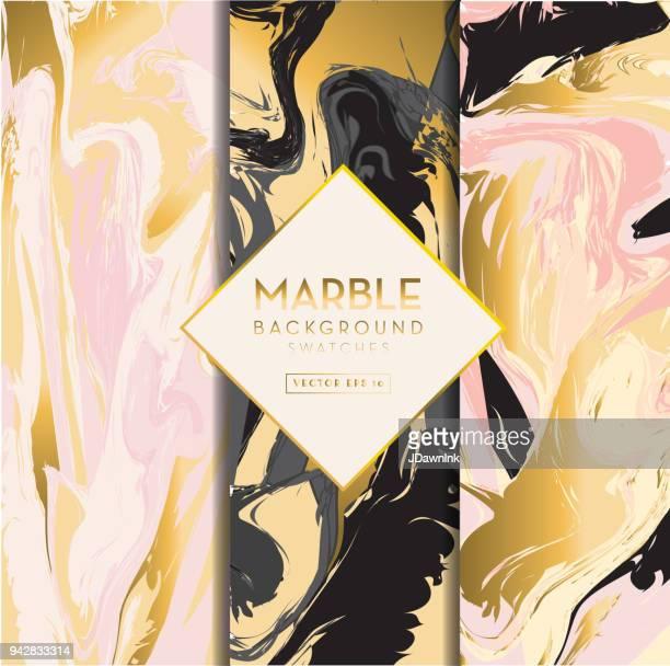 illustrazioni stock, clip art, cartoni animati e icone di tendenza di set of marble backgrounds - dorato colore descrittivo