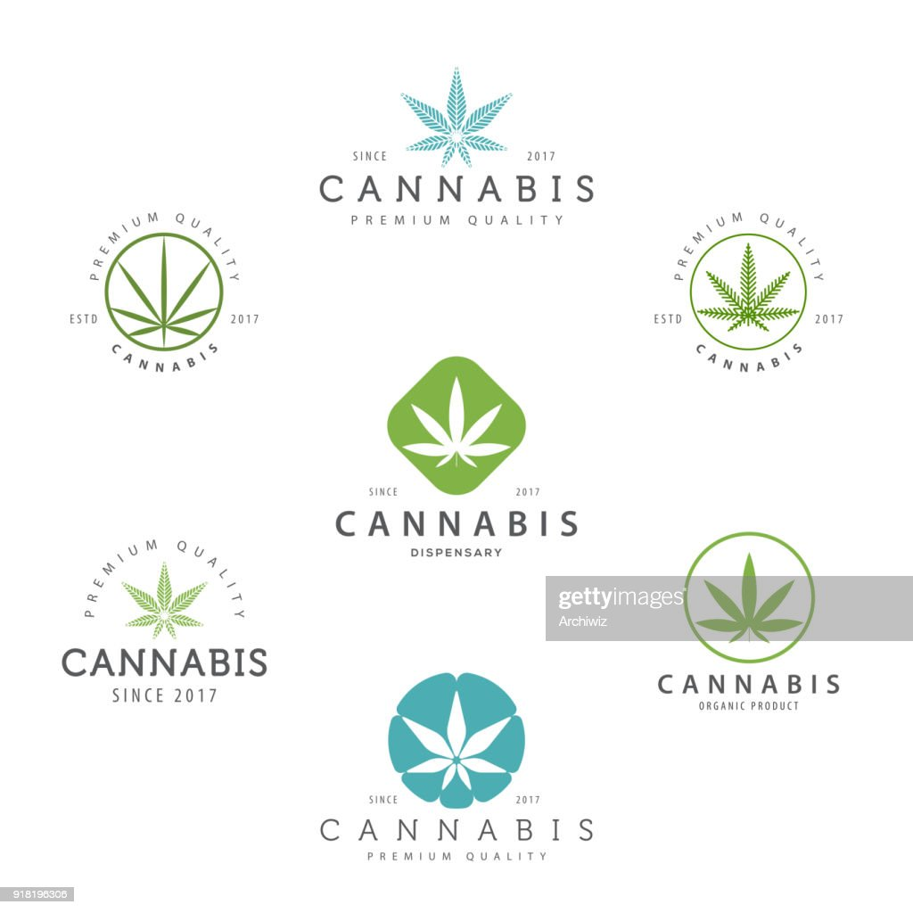 Set of marijuana cannabis leaf , labels.