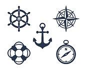 Set of marine, maritime or nautical icons