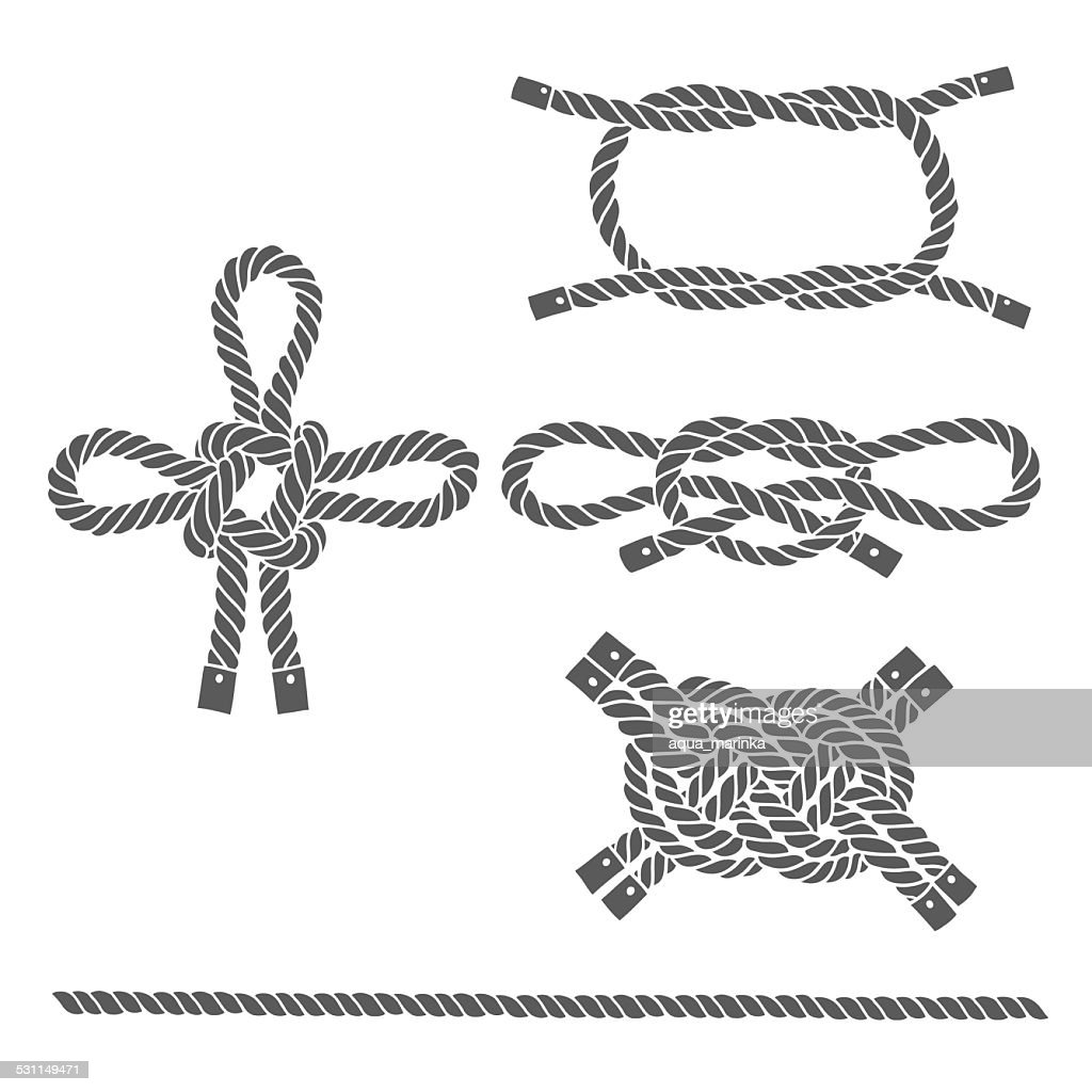 Set of marine rope, knots. Vector isolated  elements .