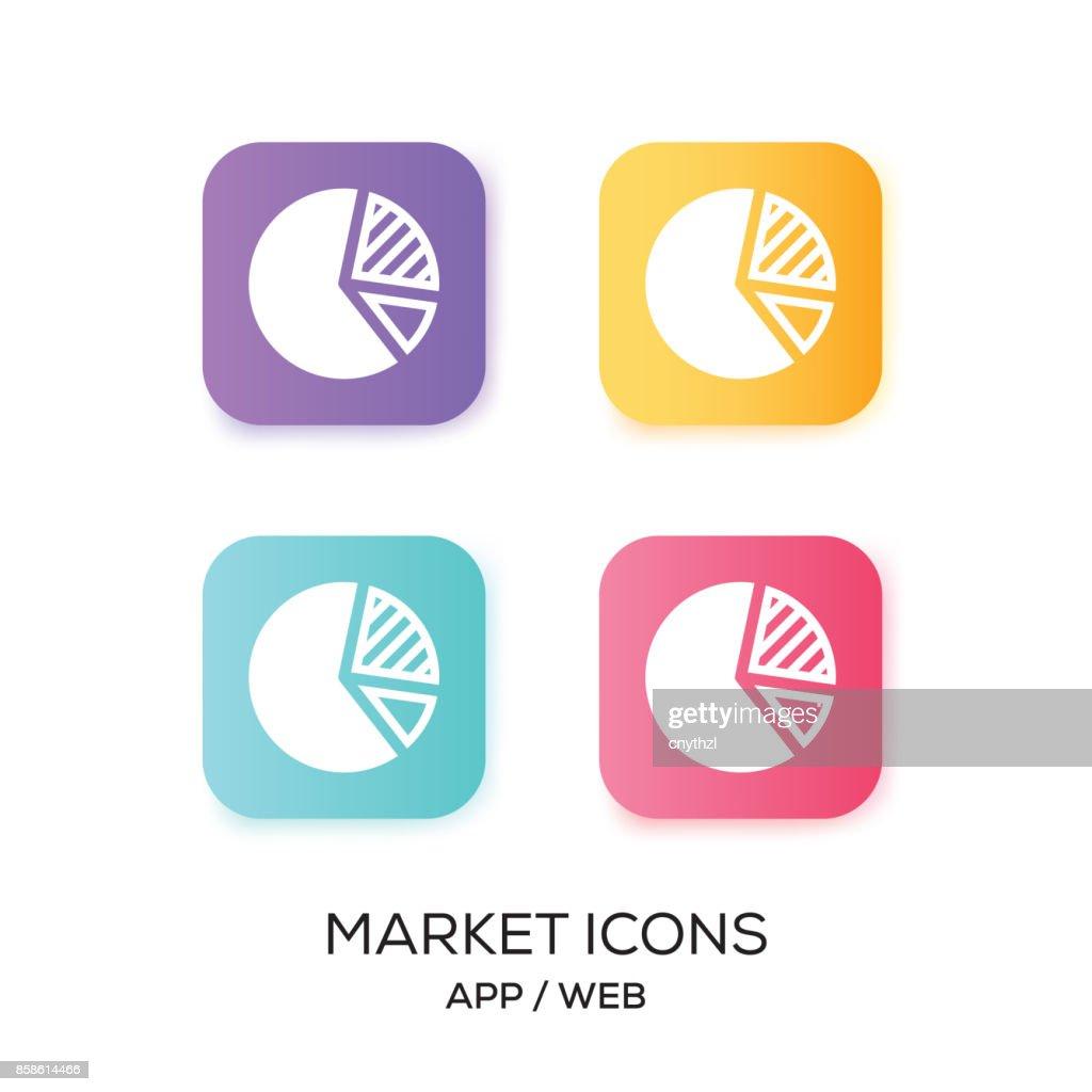 Satz von Markt-App-Symbol : Stock-Illustration