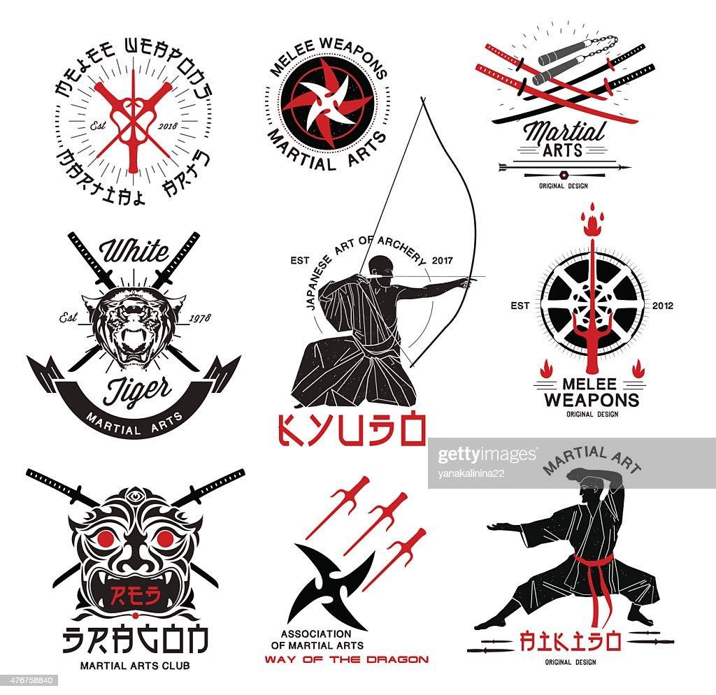 Set of martial arts, Japanese samurai weapons logo.
