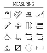 Set of measuring icons in modern thin line style.