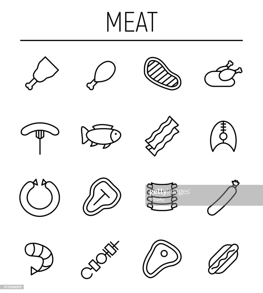Set of meat icons in modern thin line style.