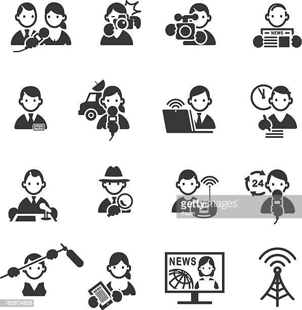 set of media and press icons. - press conference stock illustrations, clip art, cartoons, & icons