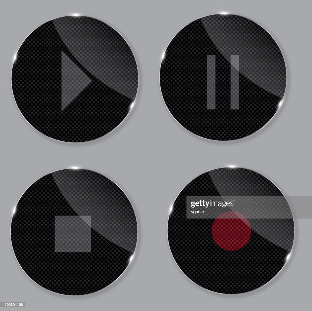 set of media glass icons vector illustration