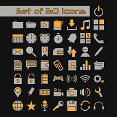 set of media software icons