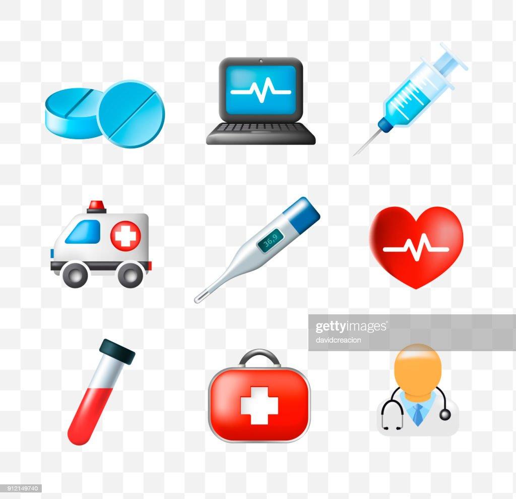 Set of Medical Elements on Transparent Background . Isolated Vector Illustration