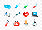 Set of Medical Elements on Transparent Background . Isolated Vector Illustration
