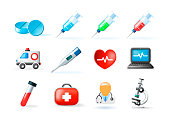 Set of Medical Elements on White Background . Isolated Vector Illustration