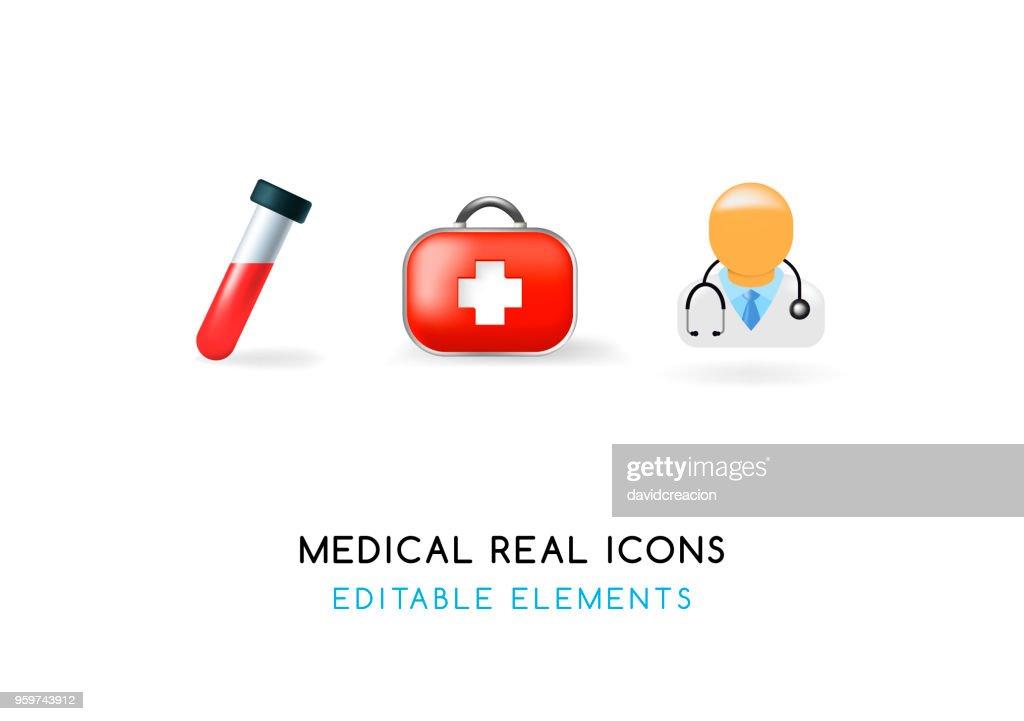 Set of Medical Elements on White Background . Isolated Vector Illustration