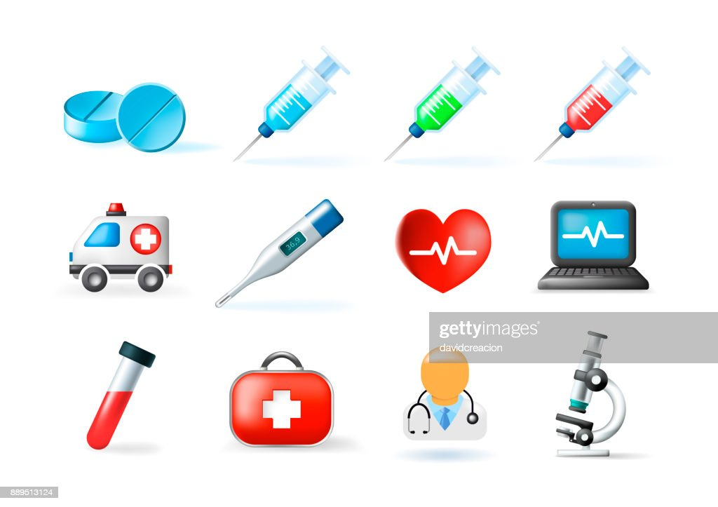 Set of Medical Elements on White Background