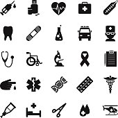 Set of medical icons in simple flat style