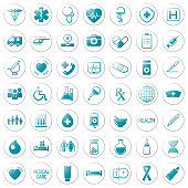 set of medical icons on circular blue colored thin line style buttons, vector, web design elements about medicine