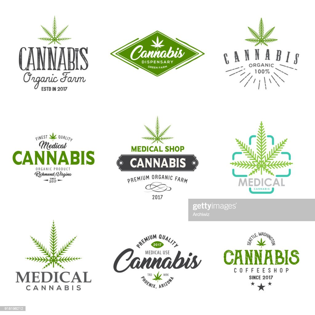Set of medical marijuana cannabis leaf , labels.