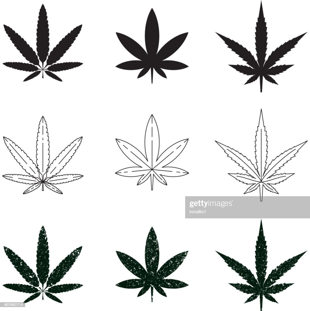 Set of medical marijuana symbols, logos, icons.