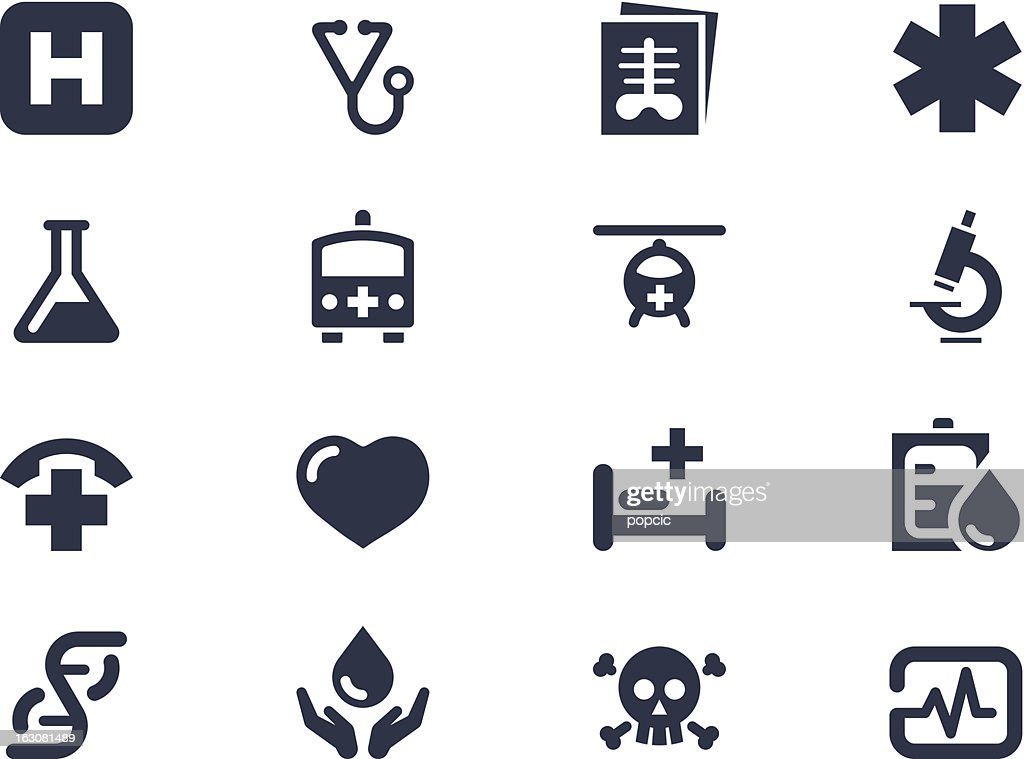 A set of medical symbols on a white background