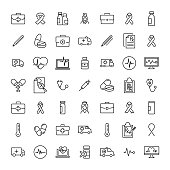 Set of medical thin line icons