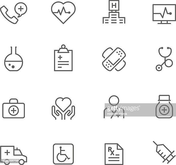 Set of medicinal icons in rows on a white background