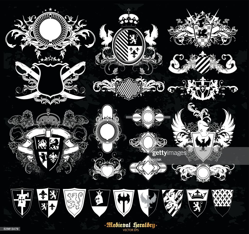 Set Of Medieval Heraldry Vector Art Getty Images