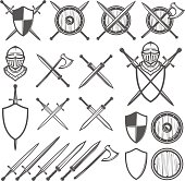 Set of medieval swords, shields and design elements