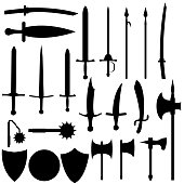 Set of medieval weapons. Antique swords, axes, spears