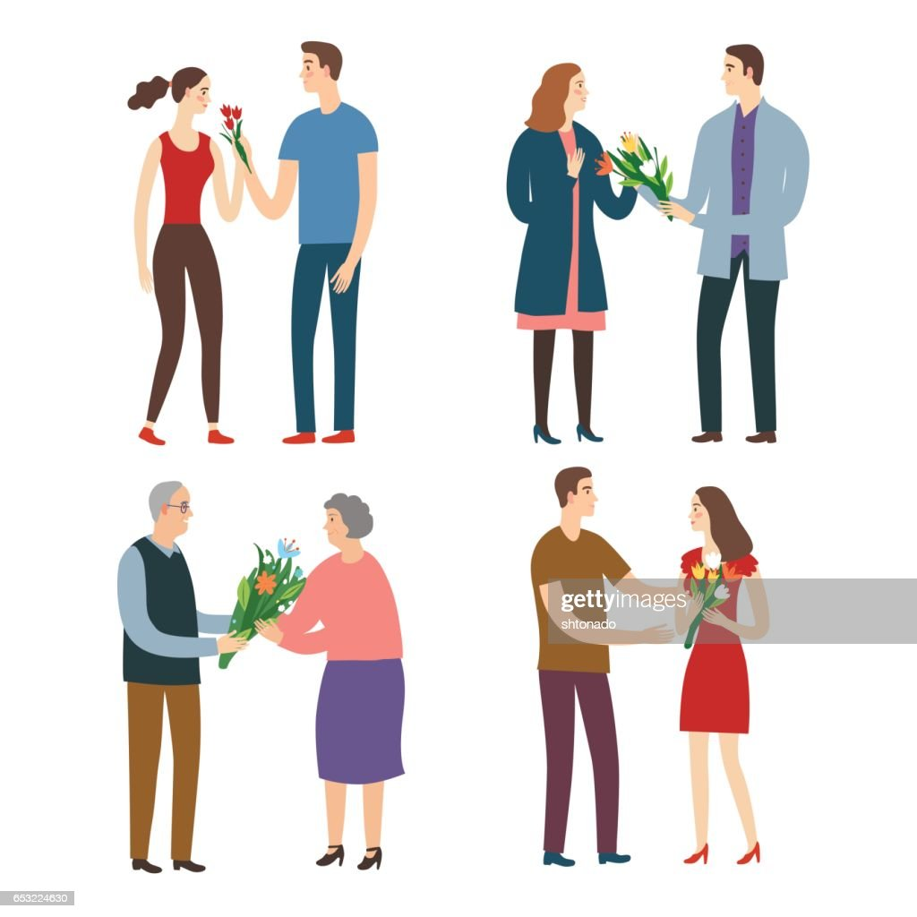 Set of men giving a bouquets of flowers to a women.