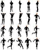 Set of men silhouette