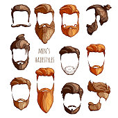 Set of men's hairstyles, mustaches and beards. Hand-drawn sketch. Vector Illustration.