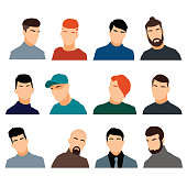 Set of men's heads isolated on a white background
