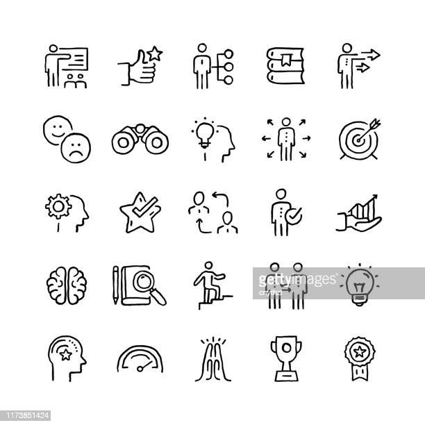 set of mentoring and training related objects and elements. hand drawn vector doodle illustration collection. hand drawn icon set. - obedience training stock illustrations