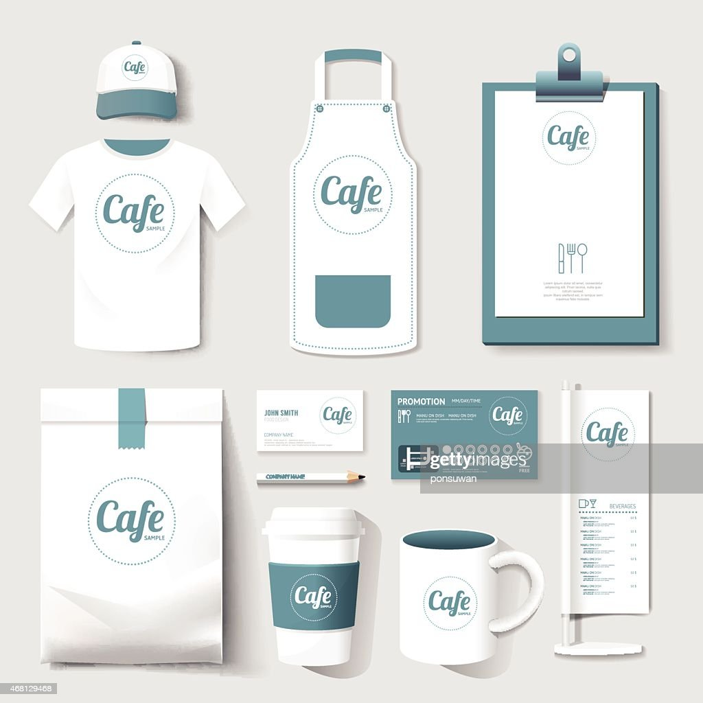 Set of merchandise with a restaurant cafe logo