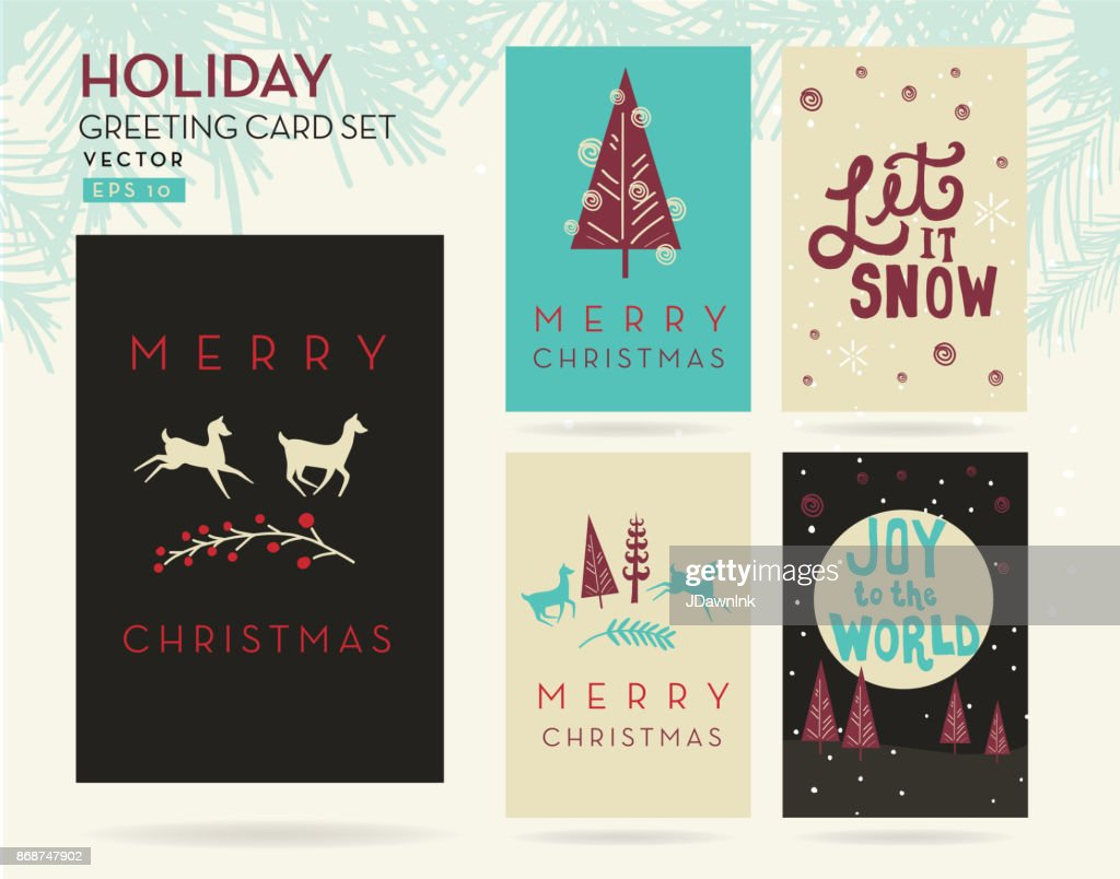Set Of Merry Christmas Greeting Card Designs Vector Art Getty Images