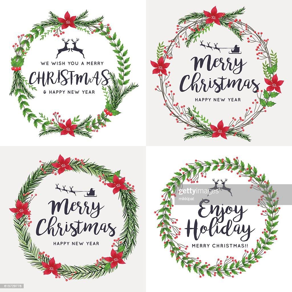 Set of Merry Christmas Wreath Flowers. Ornaments Decorative.