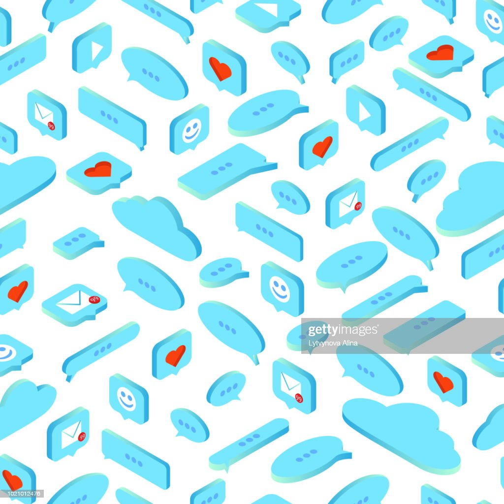 set of message icons and social networks on a white background. seamless pattern. isometry 3d