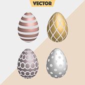Set of metal colored realistic Easter eggs