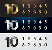 Set of metal number. Vector silver, gold and black numbers. 1, 2, 3, 4, 5, 6, 7, 8, 9, 10. alphabet typeface glowing text effect. vector illustration
