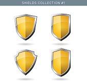 Set of metal orange mediavel shields template on white backgroun