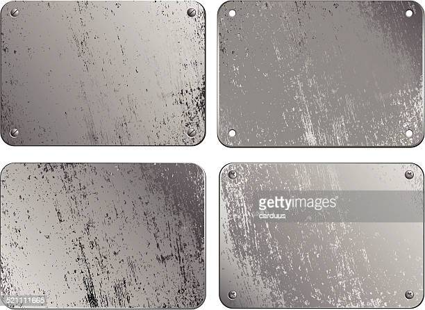 set of metal plates - metal stock illustrations