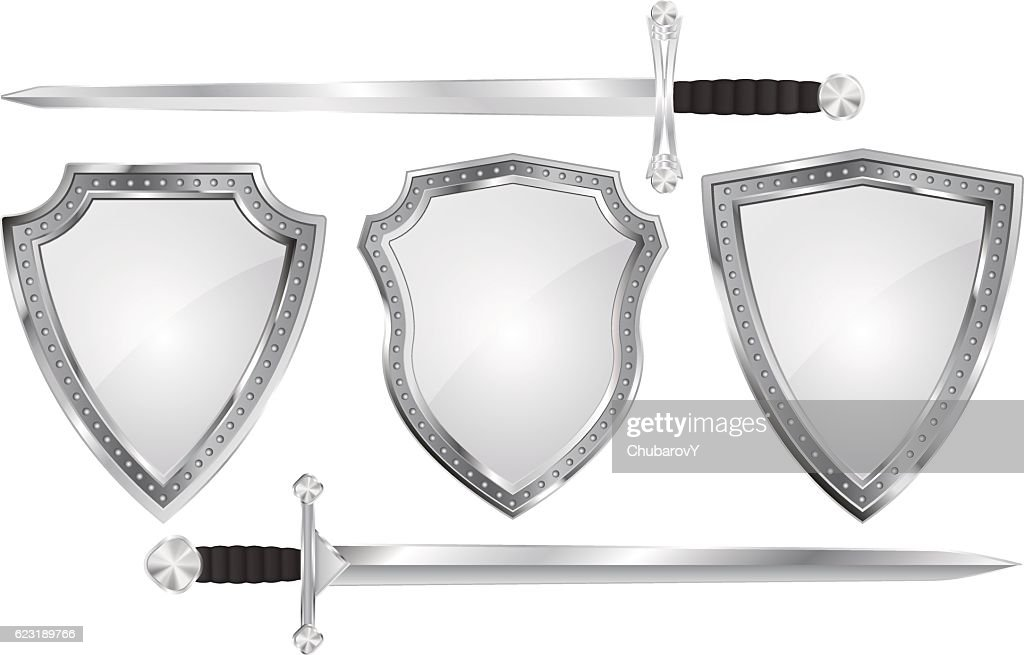Set of metal shields with swords