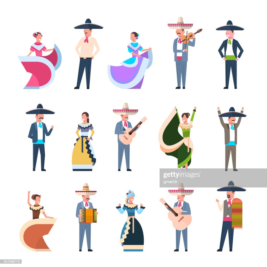 Set Of Mexican People In Traditional Costumes Dancers And Musicians Isolated On White Background