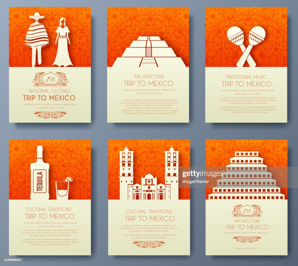 Set of Mexico country ornament illustration concept.
