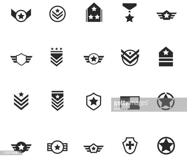 set of militory badge and symbols - military stock illustrations