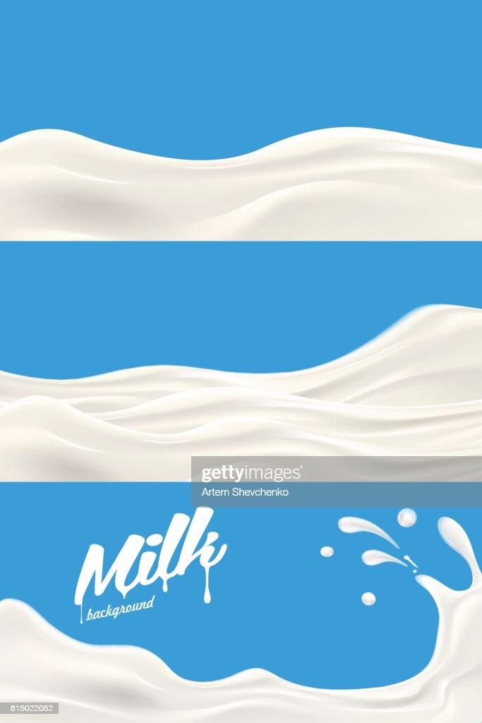 Set of Milk or yogurt splash vector realistic illustration for label design or advertising needs