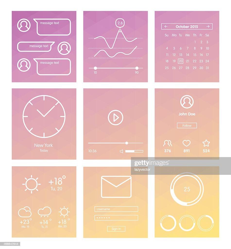 Set of minimal design UI and UX elements