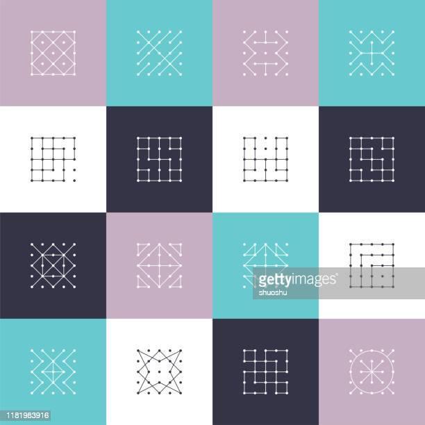 satz von minimalismus punkt linie muster symbol abdeckung für design - geometriestunde stock-grafiken, -clipart, -cartoons und -symbole