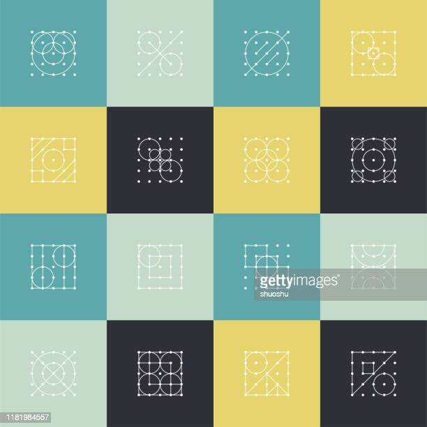 set of minimalism dot line pattern icon cover for design - symmetry stock illustrations